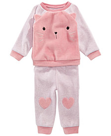 First Impressions Baby Girls Kitty Sweatshirt & Heart Jogger Pants, Created for Macy's