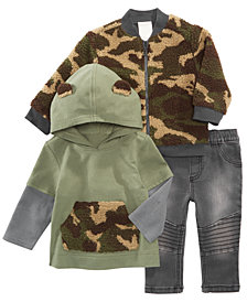 First Impressions Baby Boys Camo Bomber Jacket, Layered-Look Top & Moto Jeans, Created for Macy's