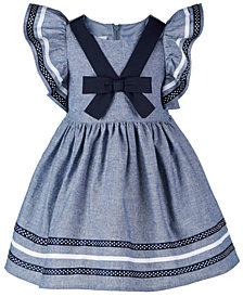 Bonnie Baby Baby Girls Nautical Chambray Cotton Dress