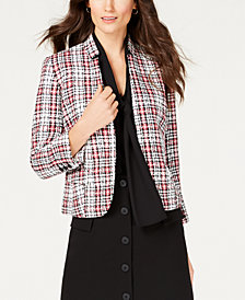 Nine West Tweed Kiss-Front Jacket