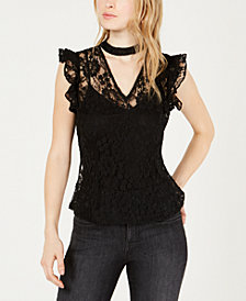 Bar III Lace Choker-Neck Top, Created for Macy's