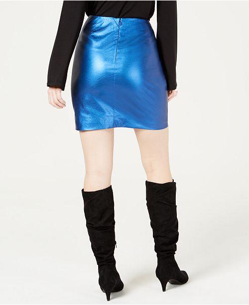 09133800369d Bar III Metallic Twisted Faux Leather Mini Skirt