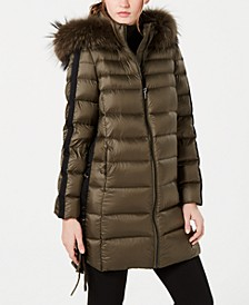 Fox-Fur-Trim Hooded Down Coat