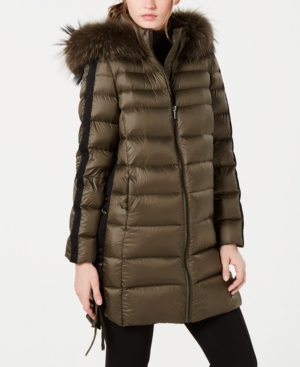 Image of 1 Madison Expedition Fox-Fur-Trim Hooded Down Coat