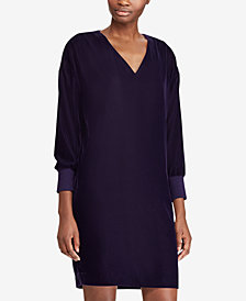 Lauren Ralph Lauren Velvet V-Neck Dress