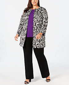Kasper Plus Size Topper Jacket, Keyhole Blouse & Straight-Leg Pants