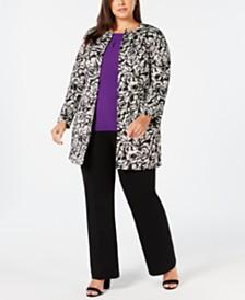 Kasper Plus Size Topper Jacket, Keyhole Blouse & Straight-Leg Pants