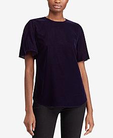Lauren Ralph Lauren Velvet Flutter-Sleeve Top