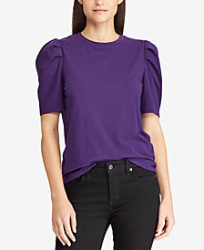 Lauren Ralph Lauren Puff-Sleeve Cotton T-Shirt