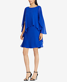 Lauren Ralph Lauren Cape-Overlay Chiffon Dress