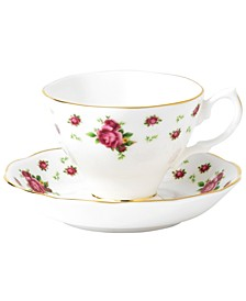 Dinnerware, Old Country Roses White Vintage Cup and Saucer