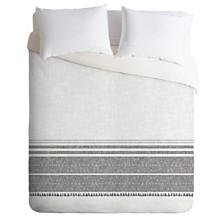 Deny Designs Holli Zollinger French Linen Charcoal Tassel Queen Duvet Set