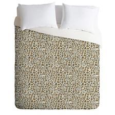 Deny Designs Holli Zollinger Deco Leopard Gold Twin Duvet Set