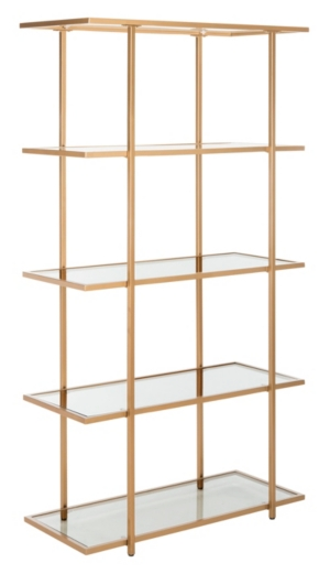 Add a touch of hollywood regency to your decor with this modern metal 5- tier etagere. luxurious gold finish frame each of its five chic glass shelves. Its clean lines and timeless glamour refresh any living room.