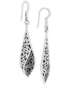 Lois Hill Scroll Work & Filigree Twist Drop Earrings in Sterling Silver