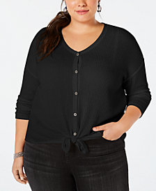 Style & Co Plus Size V-Neck Thermal Top, Created for Macy's