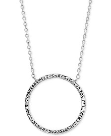 "Lois Hill Decorative Scroll Circle 16"" Pendant Necklace in Sterling Silver"
