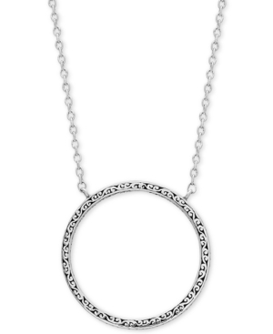 """Decorative Scroll Circle 16"""" Pendant Necklace in Sterling Silver"""