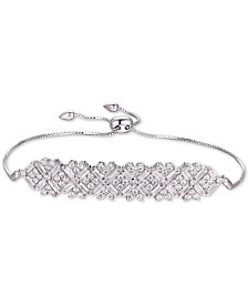 Tiara Cubic Zirconia Baguette Cluster Bolo Bracelet in Sterling Silver