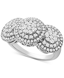 Diamond Triple Cluster Statement Ring (1 ct. t.w.) in Sterling Silver