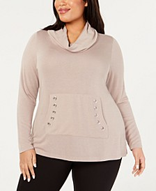 Belle by Plus Size Cowlneck Grommet-Pocket Sweater