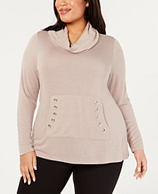 Belle by Belldini Plus Size Cowlneck Grommet-Pocket Sweater