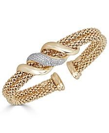 Diamond Swirl Double Row Cuff Bracelet (3/8 ct. t.w.) 14k Gold Over Sterling Silver