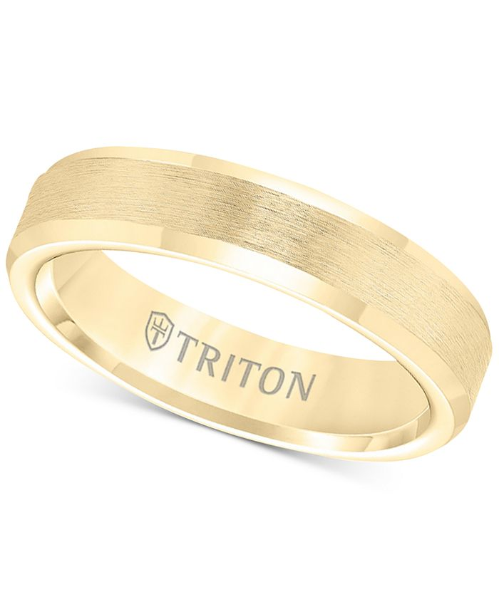 Triton - Bevel Edge Comfort Fit Band in Yellow Tungsten Carbide