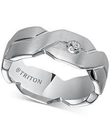 Triton Diamond Accent Geometric Band in White Tungsten Carbide