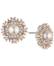 Gold-Tone Cubic Zirconia & Imitation Pearl Button Earrings