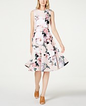 6f22827d5533 Calvin Klein Floral-Print Fit   Flare Dress