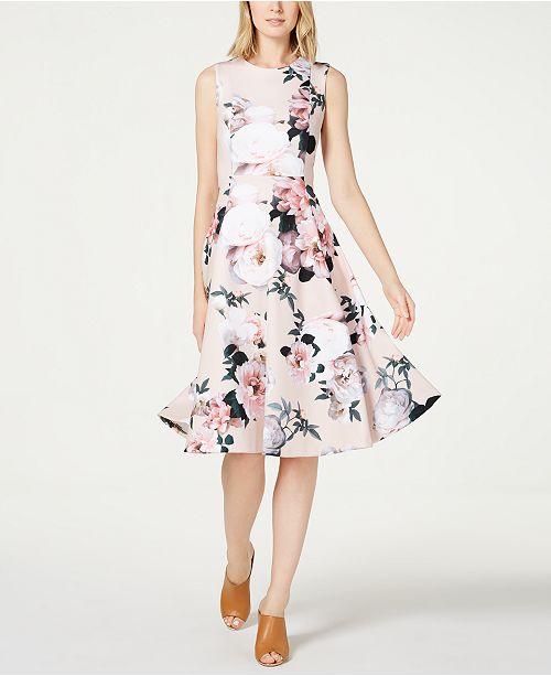 6e1e9aaeaa76c Calvin Klein Floral-Print Fit   Flare Dress   Reviews - Dresses ...