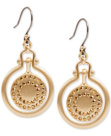 Lucky Brand Gold-Tone Pavé Orbital Drop Earrings