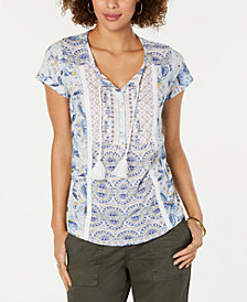Style & Co Petite Printed Top, Created for Macy's