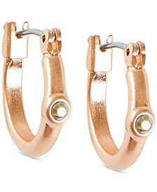Lucky Brand Rose Gold-Tone Pavé Mini-Hoop Earrings
