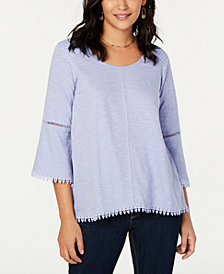Style & Co Crochet-Trim Swing Top, Created for Macy's