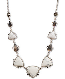 "Lucky Brand Silver-Tone Multi-Stone Collar Necklace, 17-1/2"" + 2"" extender"