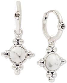 Lucky Brand Silver-Tone Stone Mini-Hoop Earrings