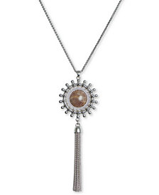 "Lucky Brand Silver-Tone Stone & Chain Tassel Pendant Necklace, 31"" + 2"" extender"
