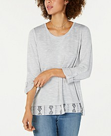 Layered-Look Roll-Tab Top, Created for Macy's