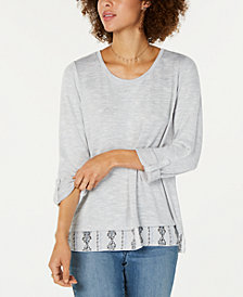Style & Co Layered-Look Roll-Tab Top, Created for Macy's