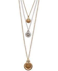 "Lucky Brand Two-Tone Pavé Medallion Removable 17"" Triple-Layer Pendant Necklace"