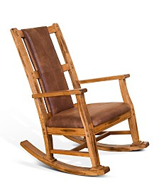 Sedona Rustic Oak Rocker, Brown Cushion Seat