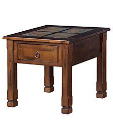 Santa Fe Dark Chocolate End Table, Slate Top