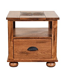 "Sedona 24""H Rustic Oak End Table , Natural Slate"