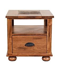 """Sedona 24""""H Rustic Oak End Table , Natural Slate"""