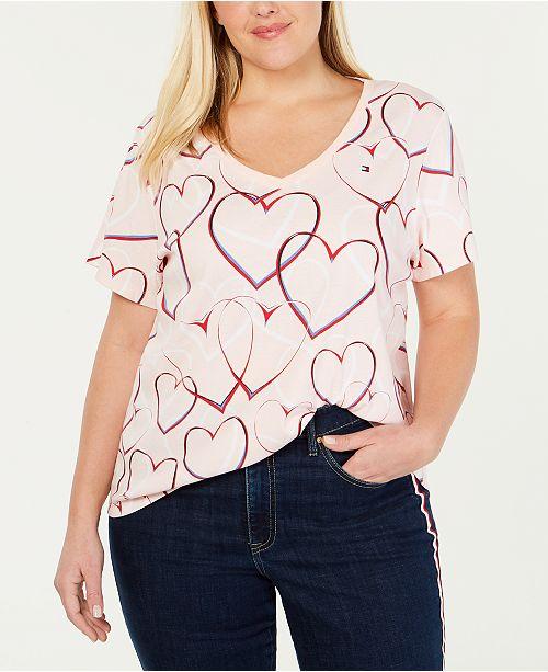 b4761a4b62d Tommy Hilfiger Plus Size Cotton Heart-Print T-Shirt - Tops - Plus ...