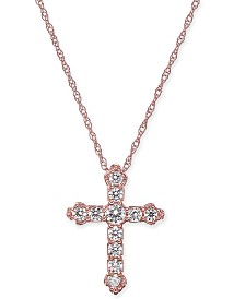 "Diamond Cross 18"" Pendant Necklace (1/4 ct. t.w.) in 14k Rose Gold"