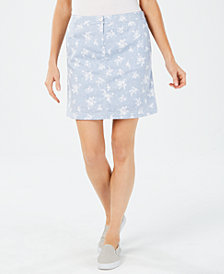 Karen Scott Printed Denim Skort, Created for Macy's