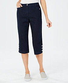 Karen Scott Comfort-Waist Denim Capri Pants, Created for Macy's